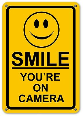 New Smile Youre On Camera Yellow Business Security Sign Cctv Video Surveillance