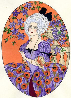 1930s French Pochoir Print Young Comtesse Woman White Hair Fashion Jacquelyn