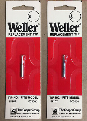 Weller Replacemsnt Soldering Iron Tips Ep 107 564 Fits Ec3000 Lot Of 2
