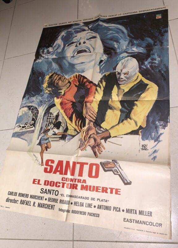 Santo Contra El Doctor Muerte Orig. Movie Film Poster From Mexico  1960s