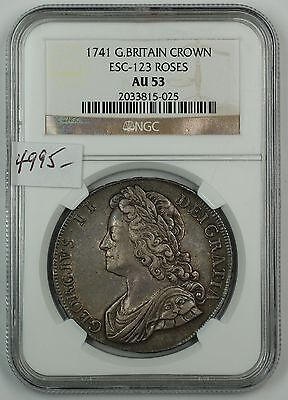Click now to see the BUY IT NOW Price! 1741 GREAT BRITAIN SILVER CROWN COIN ESC-123 ROSES NGC AU-53 AKR