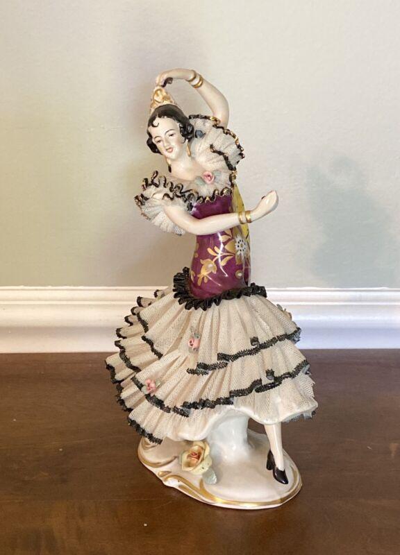 Vintage DRESDEN Frankenthal Lace Porcelain Figurine Spanish Flamenco Dancer