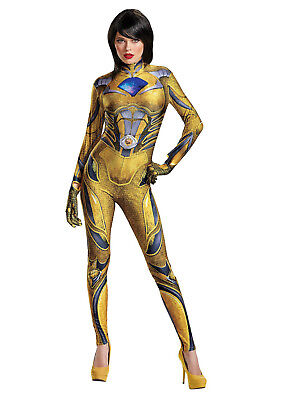 Yellow Power Rangers Halloween Costume M L Adult Woman Sexy Body Suit Cosplay ()