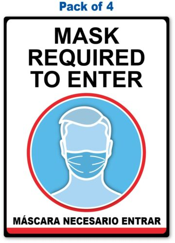 4 - SOCIAL DISTANCING STICKER English / Spanish - Sign 19 COVID VIRUS Business