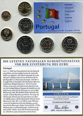 Kursmünzensatz Portugal 2001  im Noppenfolder  mit Zertifikat