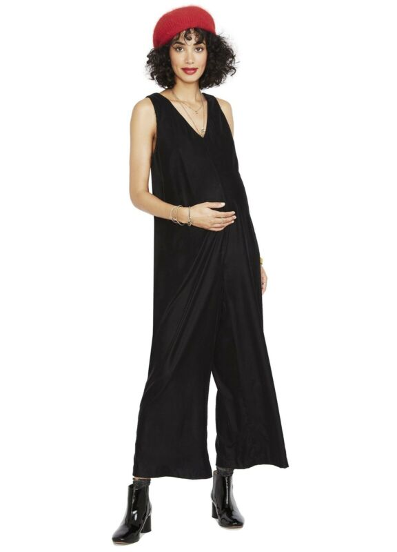 Hatch Maternity Women's THE VIOLETTE JUMPER Black Velvet Size 1 (S/4-6) NEW