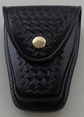 "Basketweave Brass Single Standard Leather Handcuff Cuff Case Closed ""Y"" Black"