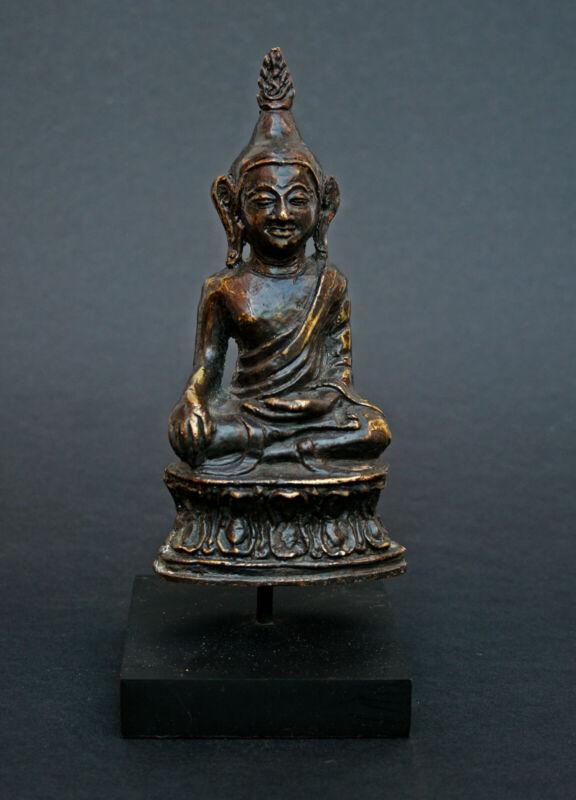 ANTIQUE BRONZE BUDDHA LAOS THAI C17/18 BHUMISPARSHA MUDRA TOUCHING THE EARTH