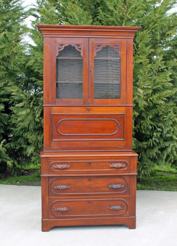 Superb Southern Victorian Walnut Secretary Desk w Maple Interior wkey c1875