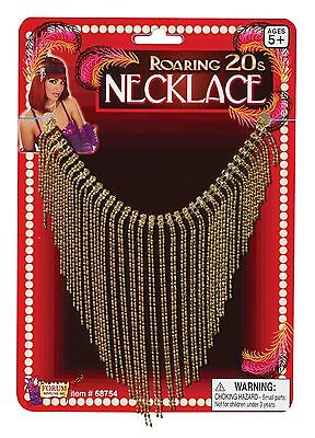 Gold Flapper Necklace Draping Chest Waterfall Roaring 20s Womens Costume NEW