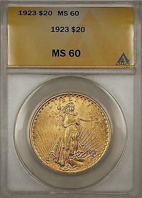 1923 $20 DOLLAR ST. GAUDENS DOUBLE EAGLE GOLD COIN ANACS MS 60 BP