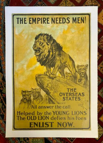 """Vintage WWI Poster """"The Empire Needs Men"""" c 1915 On Linen"""