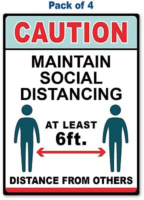 4 - Maintain Social Distancing Sticker - Office Retail Store Business Decal Sign