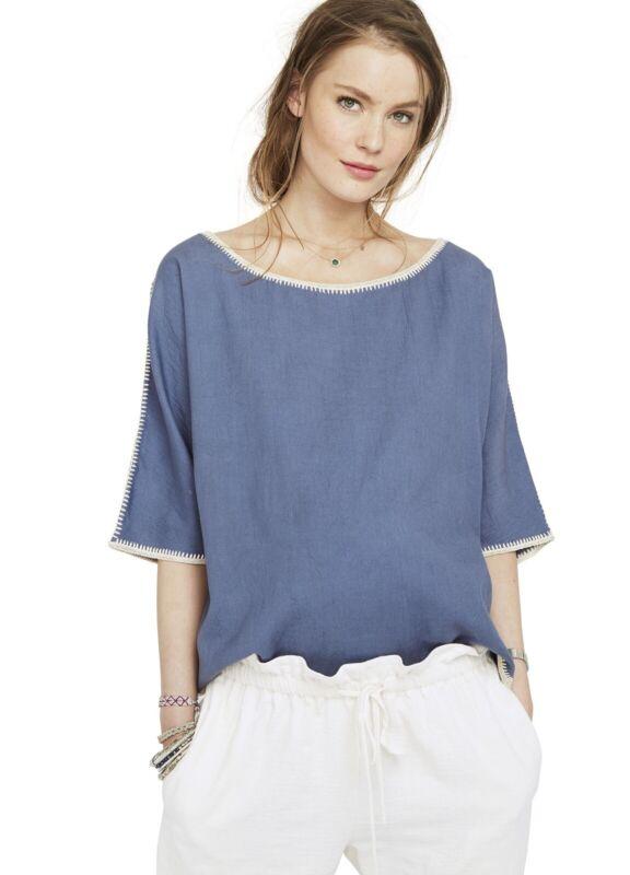 Hatch Maternity Women's THE LUNA TOP Storm Blue Cotton Size O/S (ONESIZE) NEW