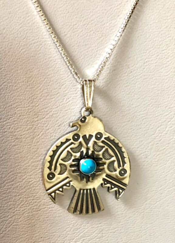 Navajo Sterling Silver Turquoise Stamped Thunderbird Pendant