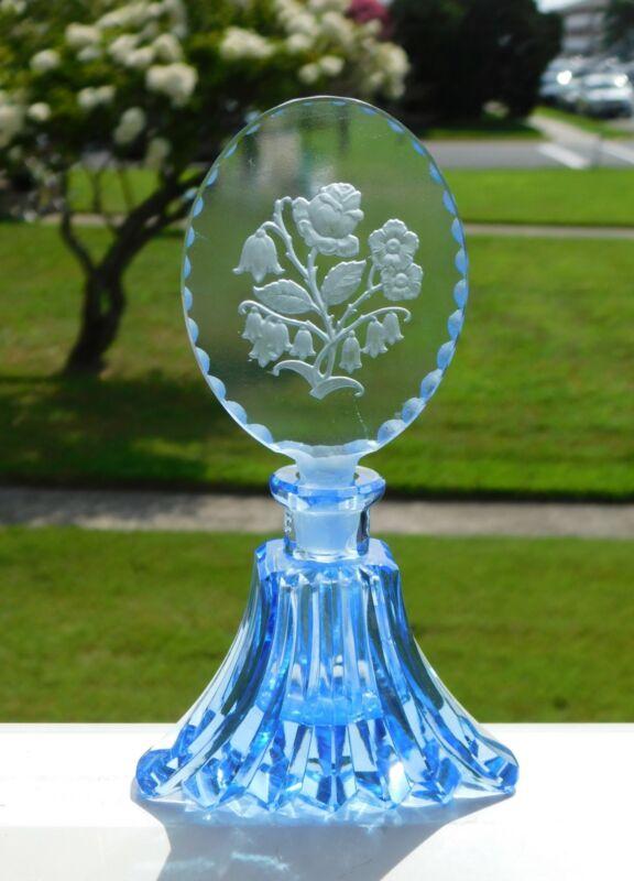 VINTAGE BLUE GLASS PERFUME BOTTLE MADE IN  CZECHOSLOVAKIA