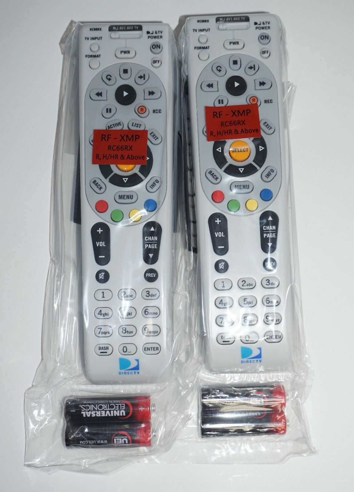 Lot Of 2  DIRECTV RC66RX RF Universal Remote Controls W/Batt
