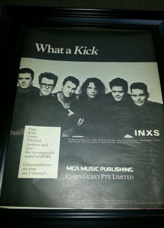 INXS Kick Rare Promo Poster Ad Framed! Printed Once!