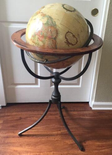 "Replogle 16"" World Classic globe raised relief map metal stand ca 2007 zodiac"