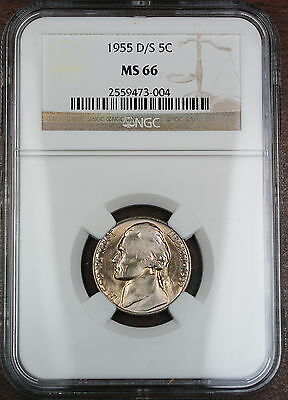 Click now to see the BUY IT NOW Price! 1955-D/S JEFFERSON NICKEL COIN, NGC MS-66,  OMM VARIETY