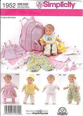 Baby Doll Clothes Pattern Simplicity 1952 Carrier Dress Overalls Hat Fits Bitty