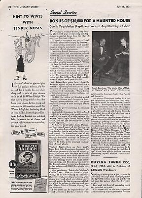 DUNNINGER AWARD FOR HAUNTED HOUSE - HALLOWEEN - 1936 DOYLE HOUDINI,RINN - Haunted History Halloween