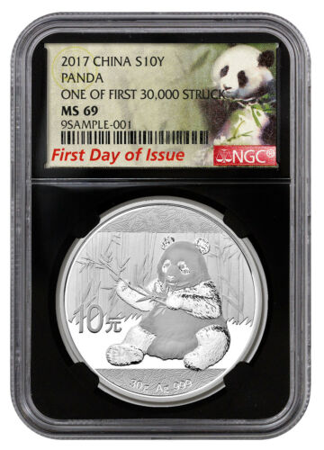 2017 China 10Y 30g Silver Panda NGC MS69 FDI First 30k Struck Lbl Blk SKU45027