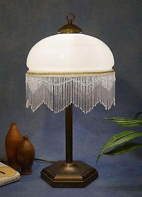 Klassische Jugendstil Tischlampe Glasstäbchen Messinglampe