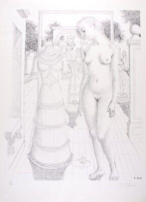 Paul DELVAUX s/n Original Lithography La Robe du dimanche 1967 - Mira Jacob N°17