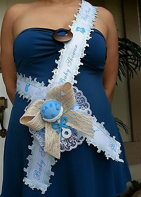 Baby Shower Mom To Be It's a Boy Sash Blue With Rattle, Ribbon and Corsage ](Its Boy)