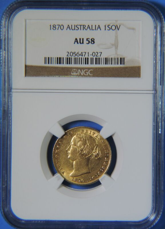 1870 Australia Victoria Gold 1 Sovereign NGC Graded AU58 Almost Uncirculated