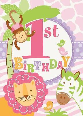 1st Birthday Pink Invitations Safari Elephant Monkey Lion First Party Supply (Monkey Invitations)