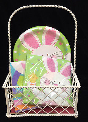 Chicken Wire Basket White w/ Easter Bunny Rabbit Paper Plates & Napkins Metal ](White Easter Basket)