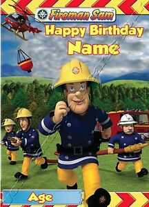- FIREMAN SAM - IDEAL FOR SON GRANSON PERSONALISED CHILDREN'S BIRTHDAY CARD
