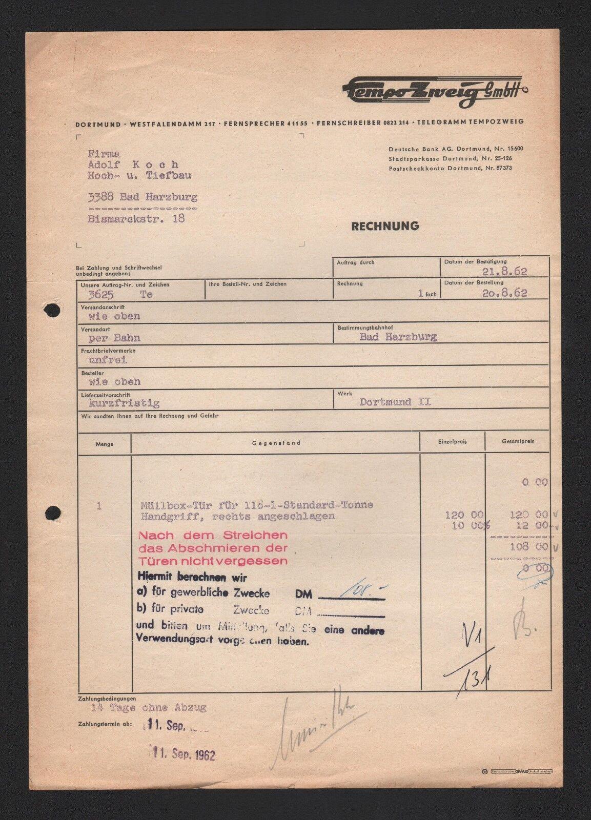 DORTMUND, Rechnung 1962, Tempo Zweig GmbH