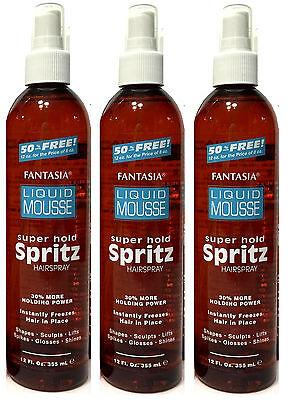 3 Pk Fantasia IC Liquid Mousse Super Hold SPRITZ Hair Spray Instant Freeze 12 (Freeze Super Hold Spray)