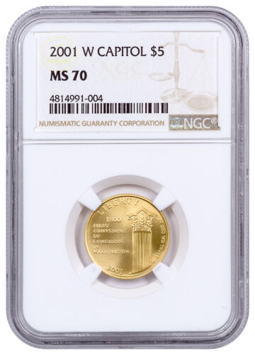 2001-W U.S. Capitol Visitor Center $5 Gold Commemorative Coin NGC MS70 SKU20461