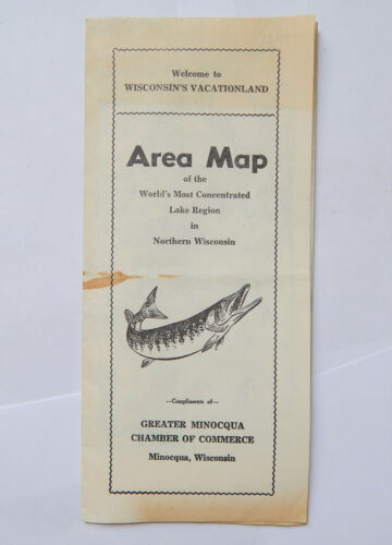Vintage Minocqua Wisconsin Area Map [12x18]