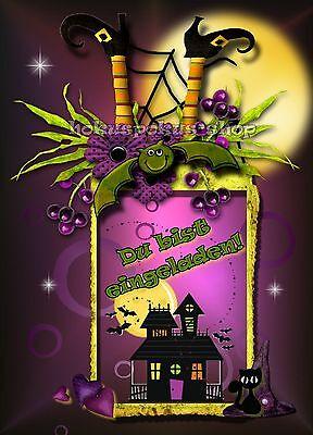 8 Einladungskarten Halloween Geburtstag Party Mädchen Einladungen Halloweenparty