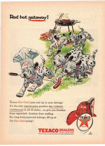 Original Vintage 1956 Texaco Fire Chief Dalmation Puppies magazine ad
