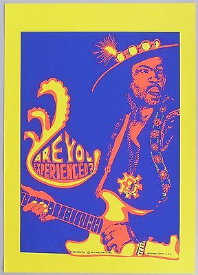 JIMI HENDRIX BLACKLIGHT POSTER, Are You Experienced?  1971