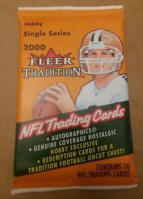 2000 Fleer TRADITION Football Hobby Pack Possible Tom Brady Rookie Card Patriots
