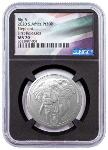 2020 South Africa Big 5 Elephant 1 oz Platinum NGC MS70 FR BC Flag Label