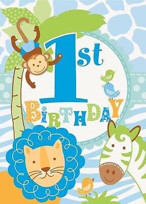 1st Birthday Blue Invitations Safari Elephant Monkey Lion First Party Supply (Monkey Invitations)