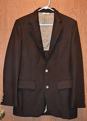 Mens Brown Joe Namath Younkers Suit Jacket Blazer Size 4R 40 Regular Very Good