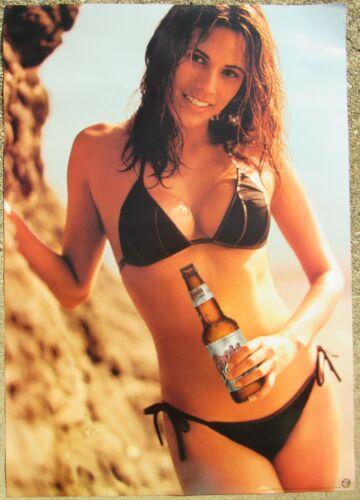 Hot Brunette Girl In Bikini Coors Light Beer Poster / Sign 2003 New Mancave