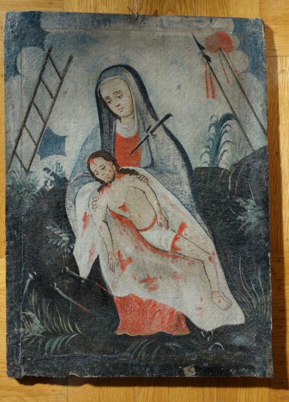 Rare 18th Century Mexican Colonial Pieta on Canvas