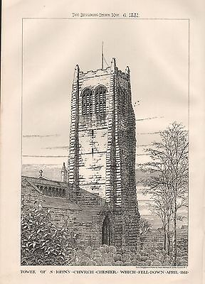 1881 ANTIQUE ARCHITECTURAL PRINT- TOWER OF ST JOHN'S CHURCH CHESTER