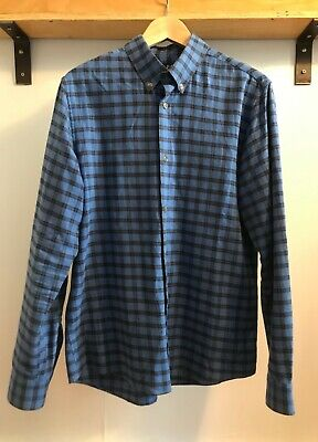 APC A.P.C. Blue & Black Plaid Button Down Flannel Collared