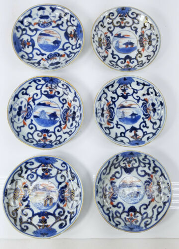 Antique Set of 6 Japanese 19th Century Imari Blue and White Saucers Plates